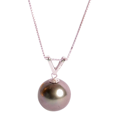 "10 mm Tahitian Pearl Necklace 18"" in 14K White Gold"