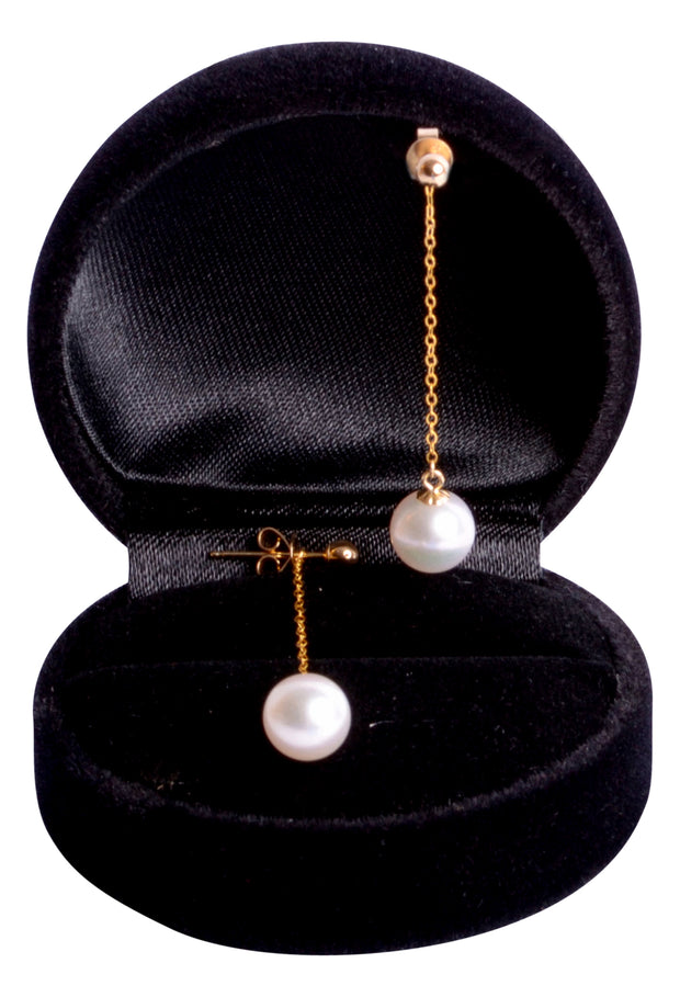 18K Yellow Gold Dangling Akoya 8 mm Pearl Drop Earrings