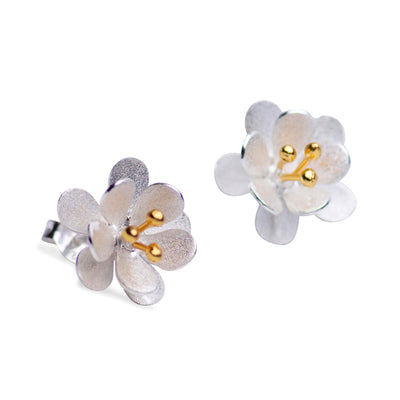 Matte Silver & Gold Flower Earrings | SilverAndGold