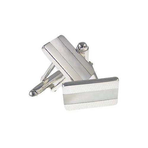 Sterling Silver Cuff Links - Mother Of Pearl Inlay British Stripe - SilverAndGold.com Silver And Gold