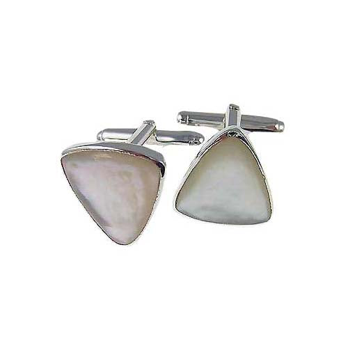Sterling Silver Cuff Links - French Triangular Mother of Pearl - SilverAndGold.com Silver And Gold