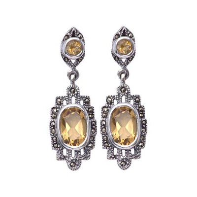 Sterling Silver Earrings: Dangle 4 Carat Citrine Gemstones - SilverAndGold.com Silver And Gold