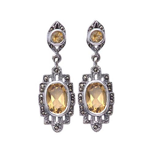 4 ct Citrine Gemstones Sterling Silver Earrings | SilverAndGold