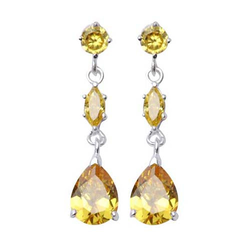 Sterling Silver Three-Stone Citrine Dangle Earrings - SilverAndGold.com Silver And Gold