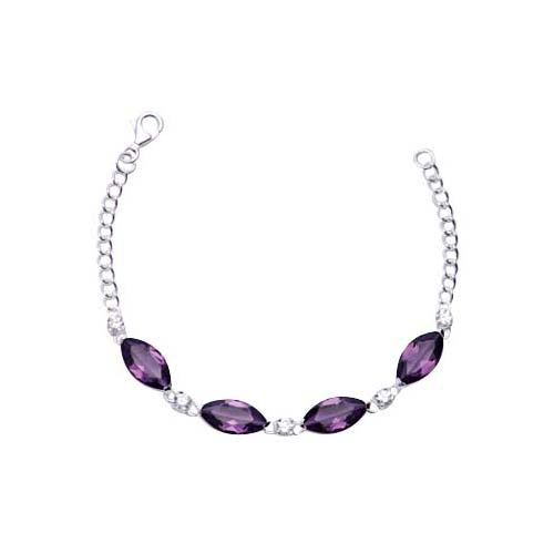 Sterling Silver and Oval Amethyst Chain Bracelet - SilverAndGold.com Silver And Gold