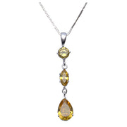 Sterling Silver and Citrine Pendant Necklace - SilverAndGold.com Silver And Gold