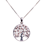 Two Tone Cubic Zirconia Tree of Life Pendant in Sterling Silver & 14K Rose Gold Plating