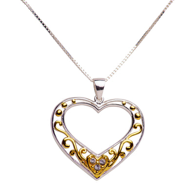 14K Yellow Gold Over Sterling Silver & Diamond Simulant Large Heart Pendant Necklace