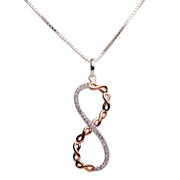 Two Tone Cubic Zirconia Infinity Pendant in Sterling Silver & 14K Rose Gold Plating