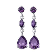 Sterling Silver Three-Stone Amethyst Dangle Earrings - SilverAndGold.com Silver And Gold