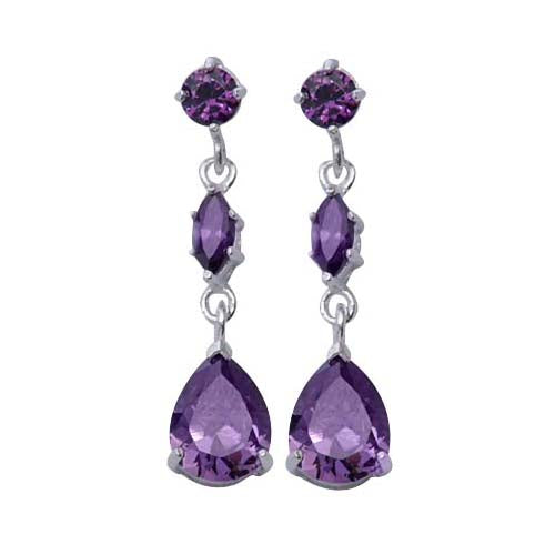 Three-Stone Amethyst Dangle Earrings | SilverAndGold