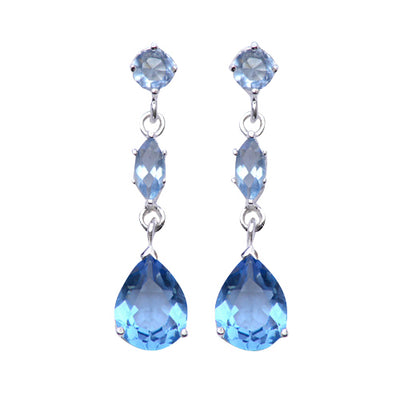 Sterling Silver Three-Stone Topaz Dangle Earrings - SilverAndGold.com Silver And Gold