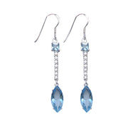 Sterling Silver Blue Topaz & Crystal Earrings | SilverAndGold