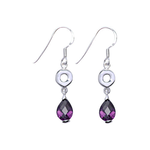 Sterling Silver and Teardrop Amethyst Dangle Earrings - SilverAndGold.com Silver And Gold