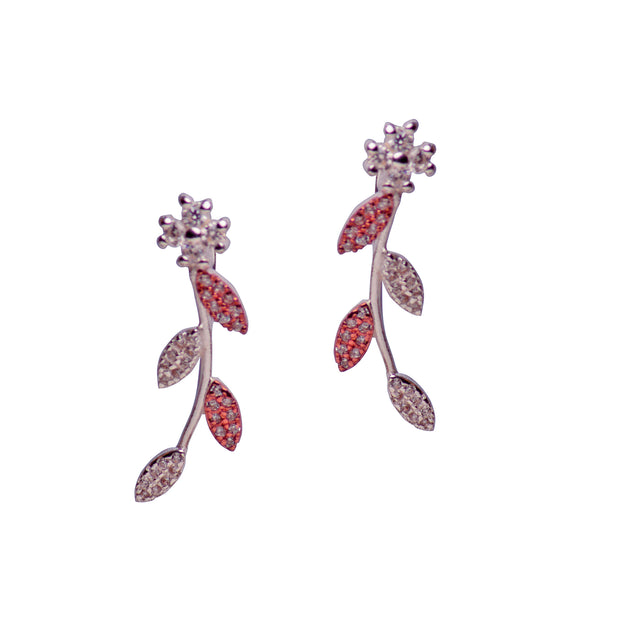 Cubic Zirconia Gold & Silver Flower Earrings | SilverAndGold