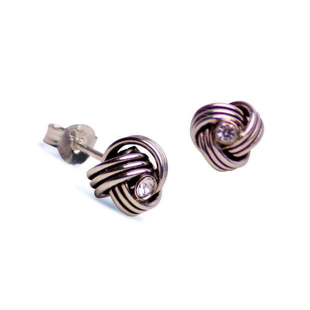 Sterling Silver  & Cubic Zirconia Love Knot Stud Earrings