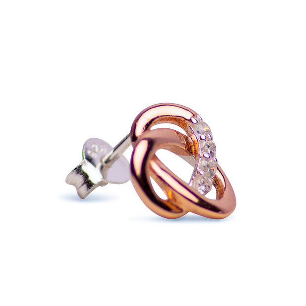 14K Rose Gold Plated Sterling Silver Knot Earrings | SilverAndGold