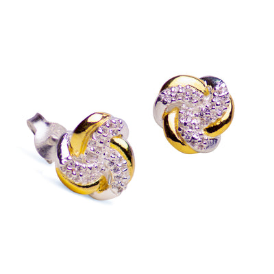 Sparkling Diamond Simulant Love Knot Stud Earrings in 14K Yellow Gold Over Sterling Silver