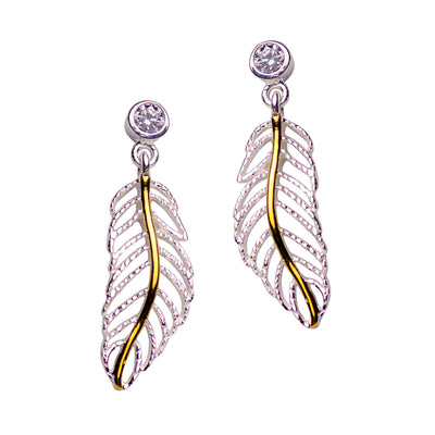 Rose Gold & Silver Feather Earrings | SilverAndGold