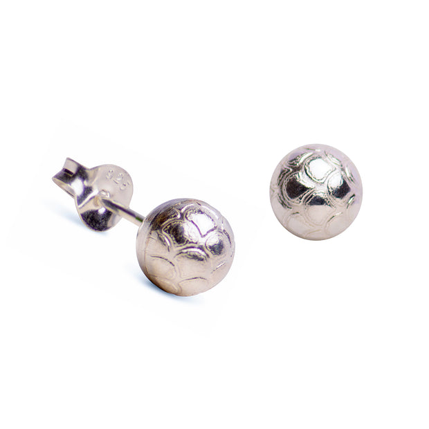 Textured 6mm Ball Stud Earrings in Sterling Silver