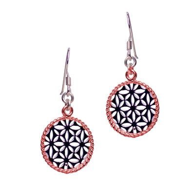 14K Rose Gold Plated Round Flower Earrings | SilverAndGold