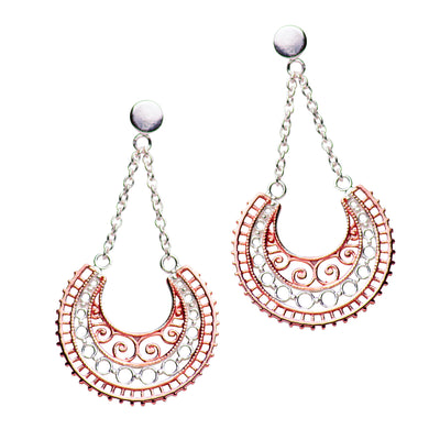14K Rose Gold & Silver Dangle Crescent Earrings | SilverAndGold