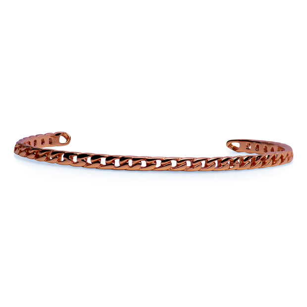14K Rose Gold Plated Sterling Silver Link Pattern Bangle