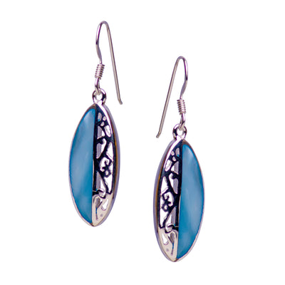 Sterling Silver & Blue Mother of Pearl Dangle Earrings