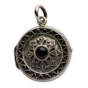 Sterling Silver, Black Onyx, Marcasite Locket Pendant