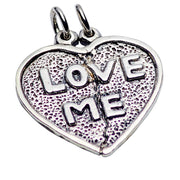 "Sterling Silver ""Love Me"" Heart Pendant"