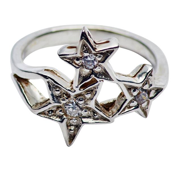 Sterling Silver & Cubic Zirconia Star Ring