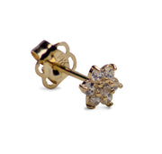 14K Yellow Gold Flower Cubic Zirconia Earrings | SilverAndGold