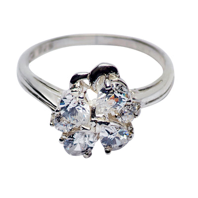 Sterling Silver & Cubic Zirconia Floral Ring