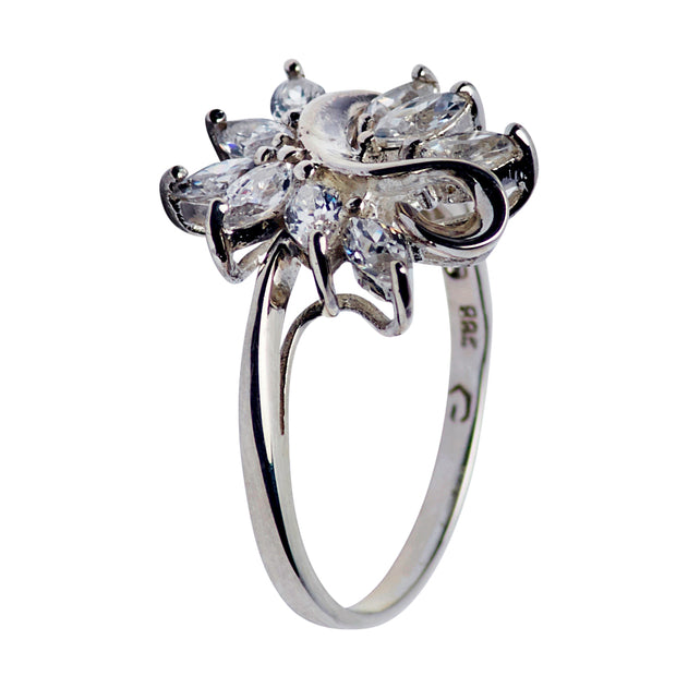 "Crystal Swan Ring in Sterling Silver and ""Splashing Water"" Cubic Zirconia"