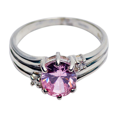 Amethyst & Crystal Ring in Sterling Silver | SilverAndGold
