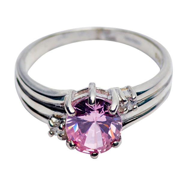 Amethyst & Swarovski Crystal Ring in Sterling Silver