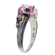 Sterling Silver Pink and Clear Solitaire Gemstone Ring