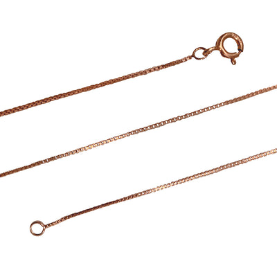 14K Rose Gold Plated Sterling Silver 0.8 mm Box Chain