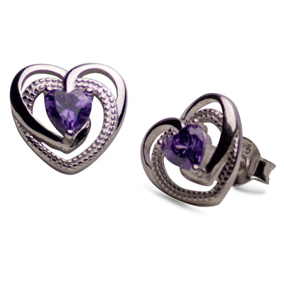 Created Amethyst Heart Sterling Silver Earrings | SilverAndGold