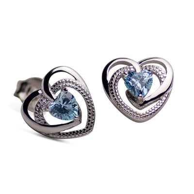 Sterling Silver Heart Synthetic Topaz Stud Earrings
