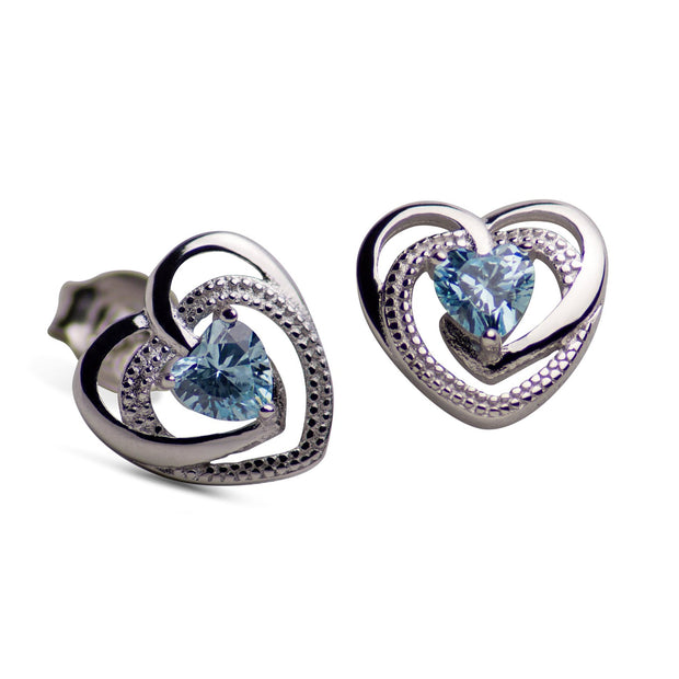 Sterling Silver Heart Created Topaz Earrings | SilverAndGold