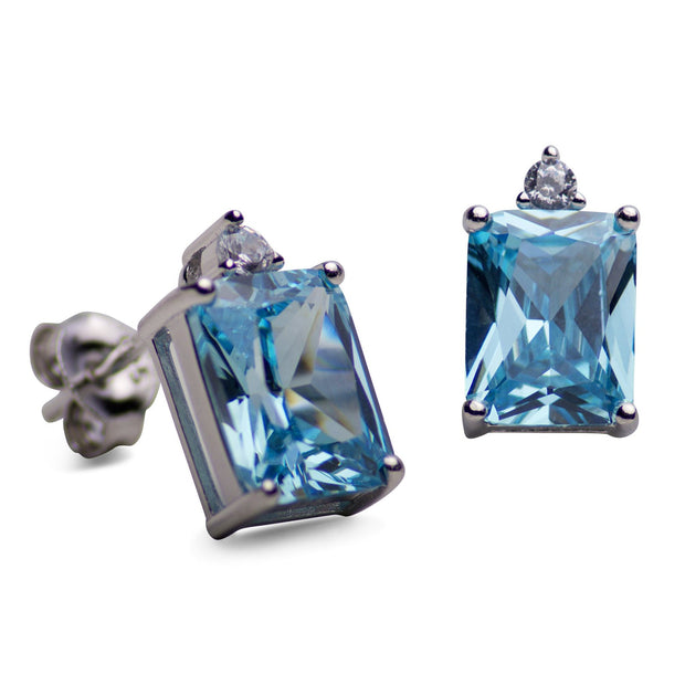 Rectangular Created Blue Topaz Stud Earrings | SilverAndGold