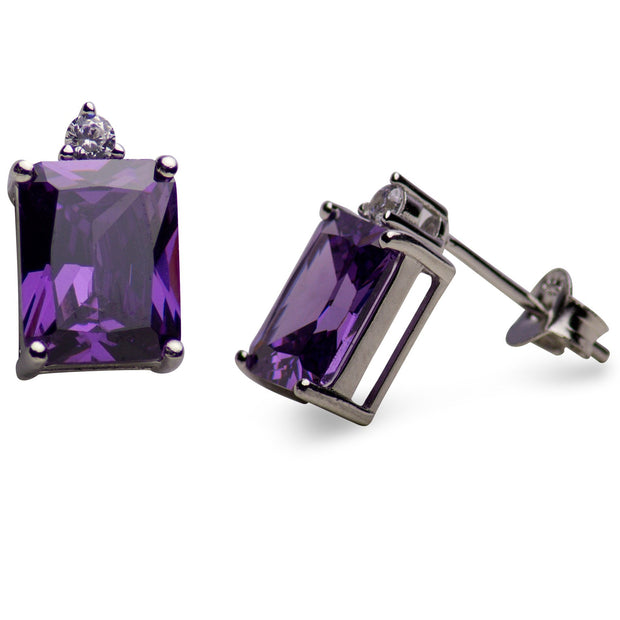 Created Amethyst Sterling Silver Rectangular Earrings | SilverAndGold