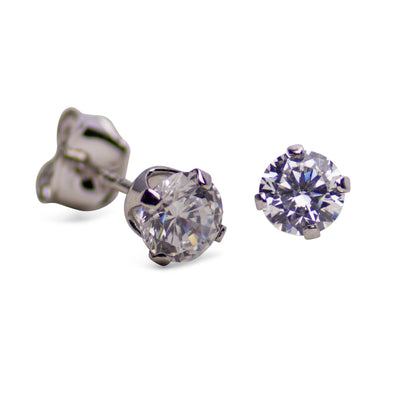 Sterling Silver 1.00 TCW Cubic Zirconia Round Stud Earrings