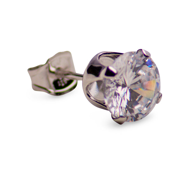 Sterling Silver 2.00 TCW Cubic Zirconia Round Stud Earrings