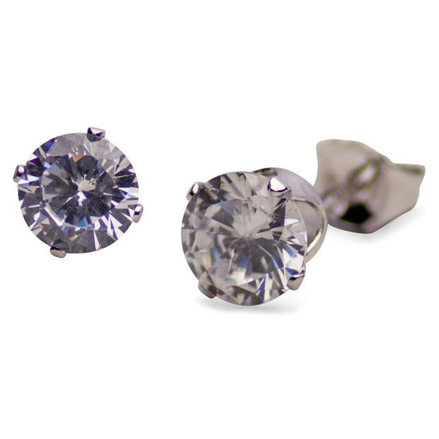 3.0 ctw Cubic Zirconia Round Stud Earrings | SilverAndGold