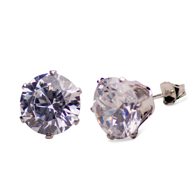 Sterling Silver 16.00 TCW Cubic Zirconia Round Stud Earrings