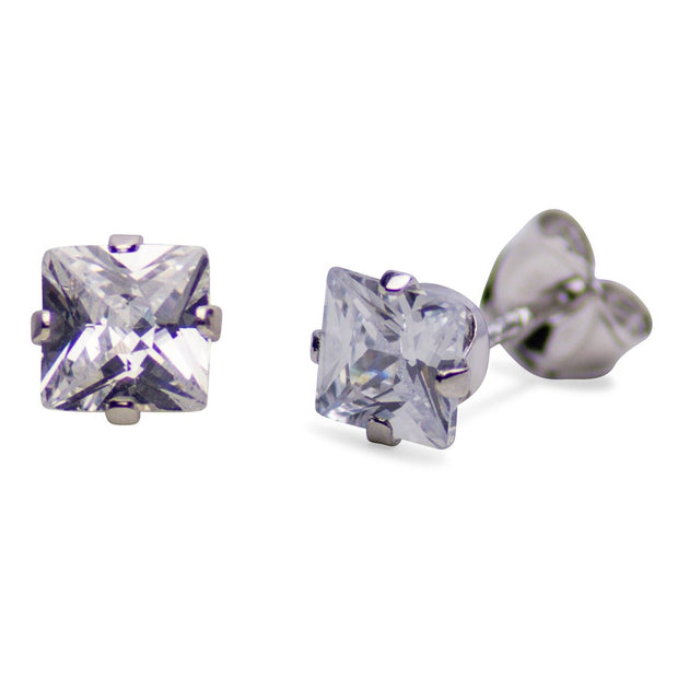 Princess Cut Cubic Zirconia Stud Earrings | SilverAndGold