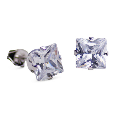6 mm Princess Cut Cubic Zirconia Earrings | SilverAndGold