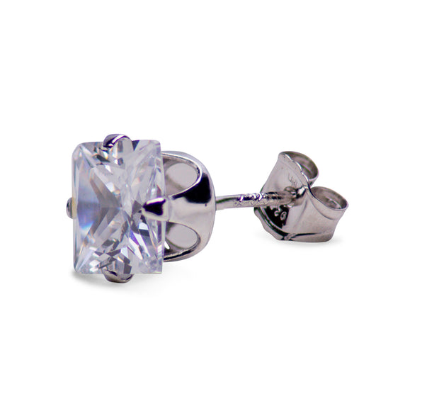 2.48 TCW Sterling Silver 6 mm Princess Cut CZ Square Stud Earrings